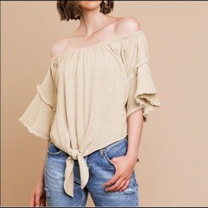 Umgee linen and cotton off the shoulder top 1XL